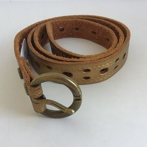 Accessories - GOLD LEATHER BELT WITH HOLES